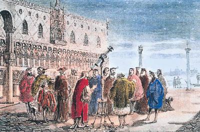 [책 속의 한 컷] '하늘을 보는 눈' 중 망원경을 시험해 보이는 갈릴레오 기사의 사진