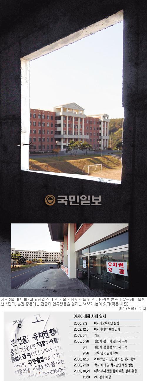 군대 갔다오니 대학이 사라졌다… 아시아대 77억원에 2차 경매, 오갈데 없는 학생들 '울분의 5년' 기사의 사진