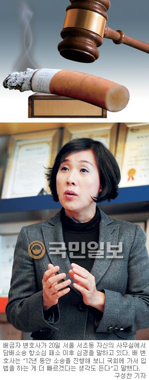 [인人터뷰] 담배소송 항소심 패소 원고측 대리인 배금자 변호사 기사의 사진