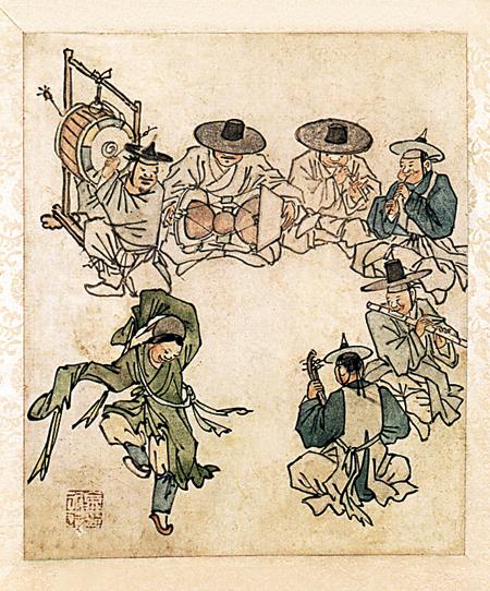 [톡톡! 한국의 문화유산] 단원이  그린  '조선  춤꾼과  음률' 기사의 사진