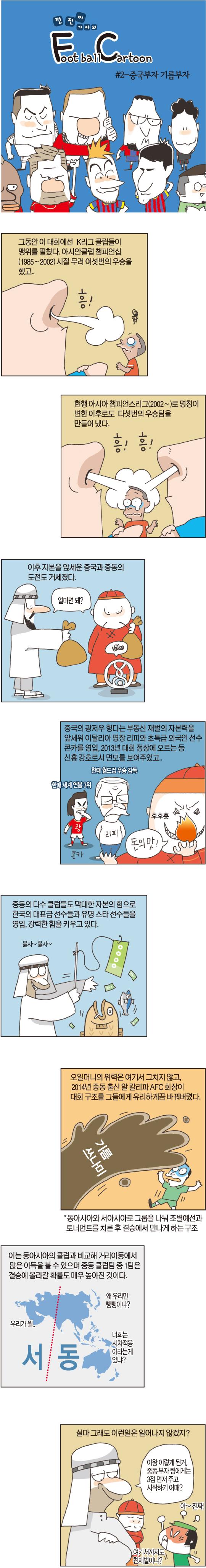 [전진이의 풋볼 카툰] 2. 중국부자 중동부자 기사의 사진