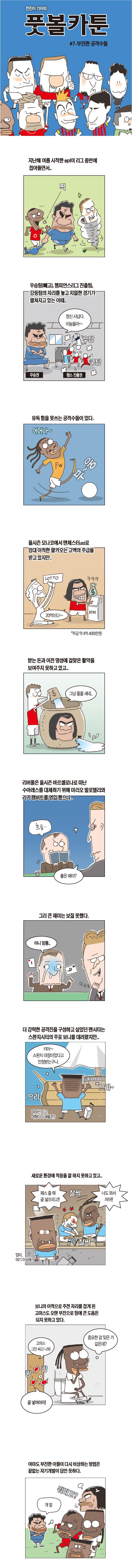 [전진이의 풋볼카툰] #7- 부진한 공격수들 기사의 사진