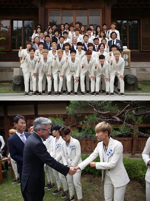 김종덕 문체부 장관, 여자축구대표팀 격려오찬 기사의 사진