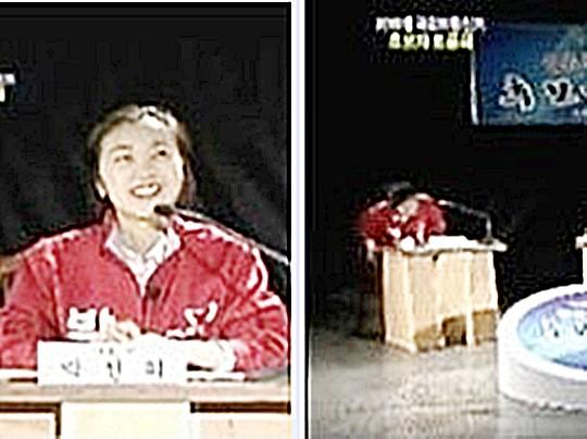 """""""얼짱녀가 소환한 토론 도망녀"""" 새누리 후보 민망 실수 영상 기사의 사진"""