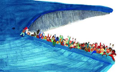 [그림책-흰긴수염고래] 고래 입 속에 50명이 들어가네! 기사의 사진