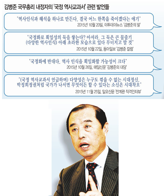 국정 교과서 반대했던 총리 등장… '보류론' 고개 기사의 사진