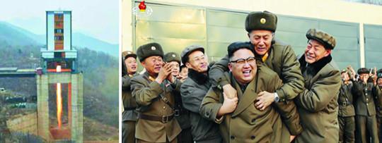 北, 신형 로켓엔진 시험… 강경 트럼프에 'ICBM 시위' 기사의 사진