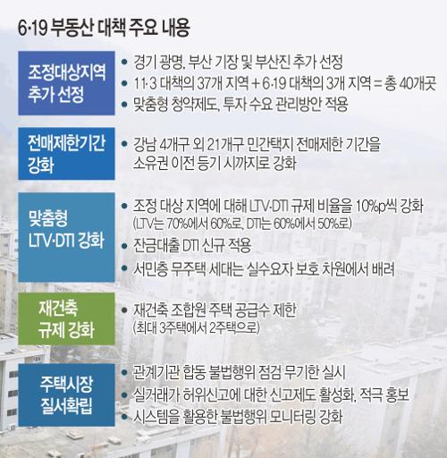 """[6·19 부동산 대책] """"경기 불씨 꺼트릴라"""" 우려 투기과열지구 지정은 빠져 기사의 사진"""