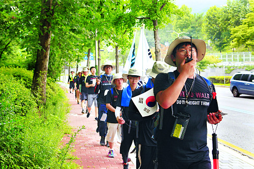 우리는 걷는다, 복음통일 그날까지… '위두웍(We do walk)' 국토종단기도회 청년들 기사의 사진