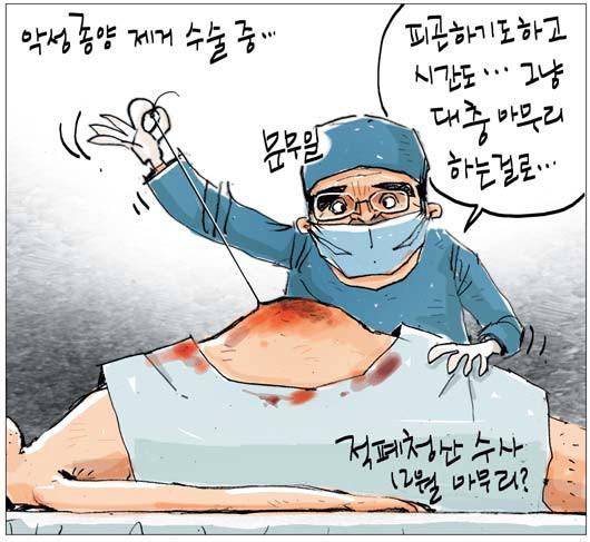 [국민만평-서민호 화백] 적폐 청산 수술 중… 기사의 사진