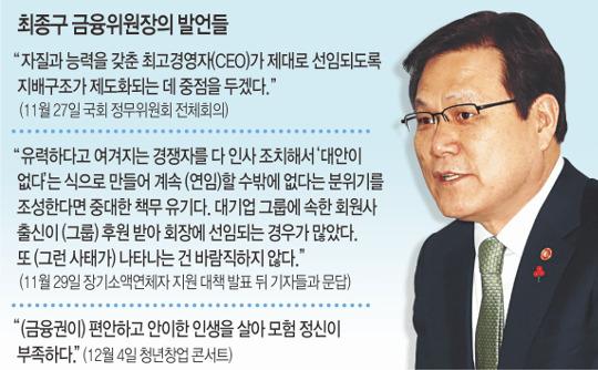 금융위원장 잇단 돌직구에 금융권 속앓이 기사의 사진