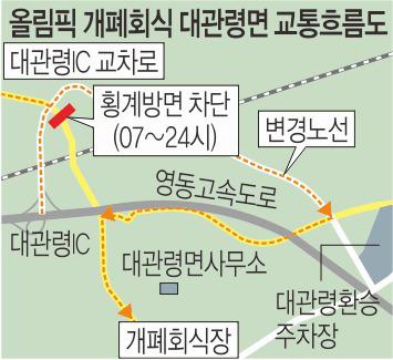평창 올림픽 개·폐회식 당일 대관령 IC→횡계리 진입 금지 기사의 사진