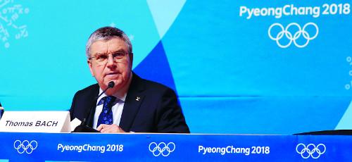 바흐 IOC 위원장,  올림픽 이후 방북 기사의 사진
