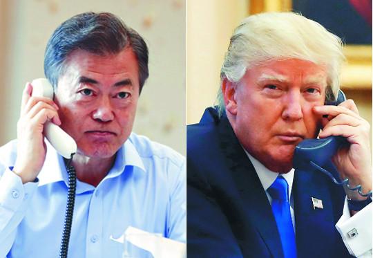 """""""韓·美 흔들림 없다""""… 北에 시그널 보낸 두 대통령 기사의 사진"""