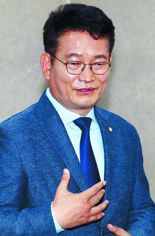 """송영길 """"文정부 끝까지 지키겠다""""… 출마 선언 기사의 사진"""