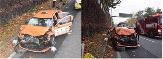 올림픽대로서 택시 돌진… 갓길 조경 인부 2명 사망 기사의 사진